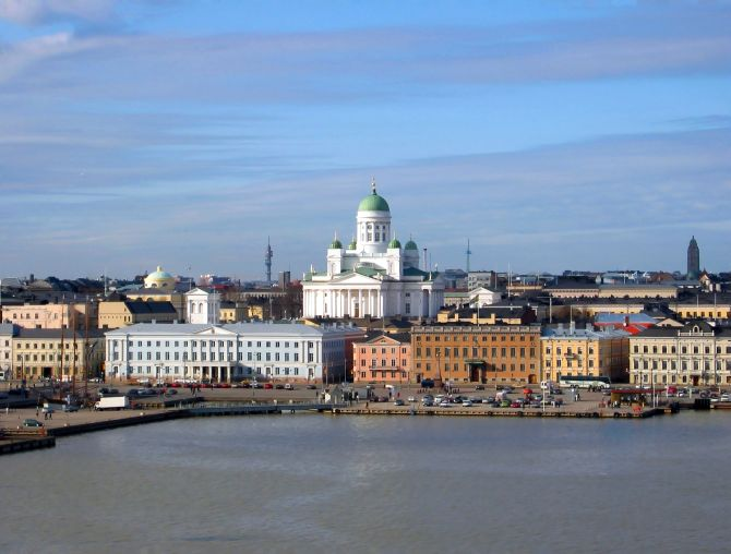The Lutheran Cathedral in Helsinki, Finland, seen from the South Harbour.