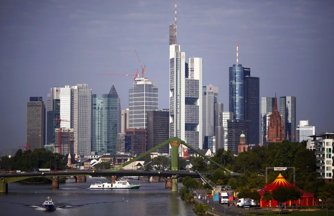 The skyline of Frankfurt with its characteristic bank towers is pictured early morning.