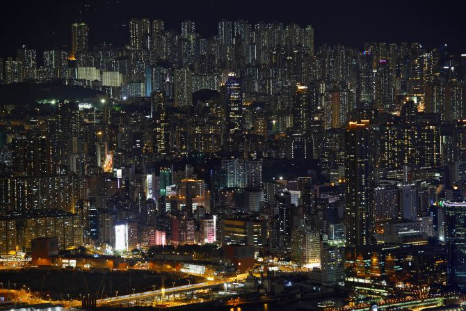Hong Kong skyline.