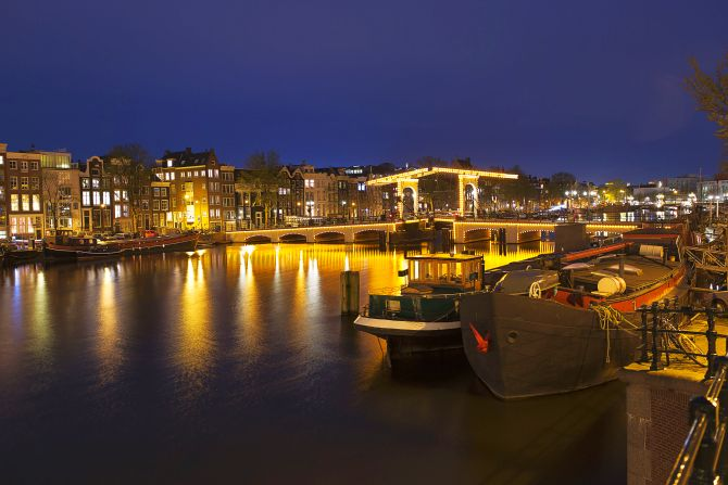 Nightview of the Magere Brug, the skinny bridge,the most famous bridge in Amsterdam.
