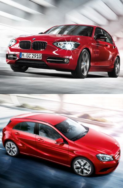 BMW 1 series (top) and Mercedes A Class.