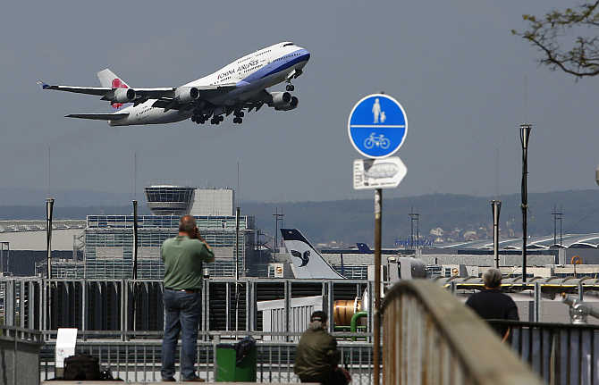 An aircraft of China Airlines takes off from the Fraport airport in Frankfurt, Germany.