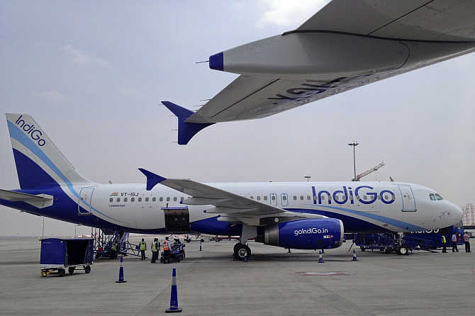 An IndiGo Airlines A320 aircraft is parked at Bangalore International Airport.