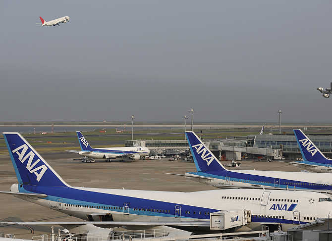 All Nippon Airways's aeroplanes at Haneda airport in Tokyo, Japan.