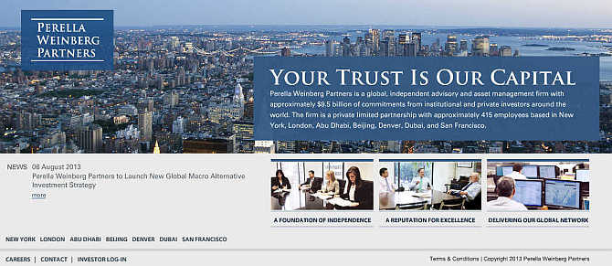 Homepage of Perella Weinberg Partners.