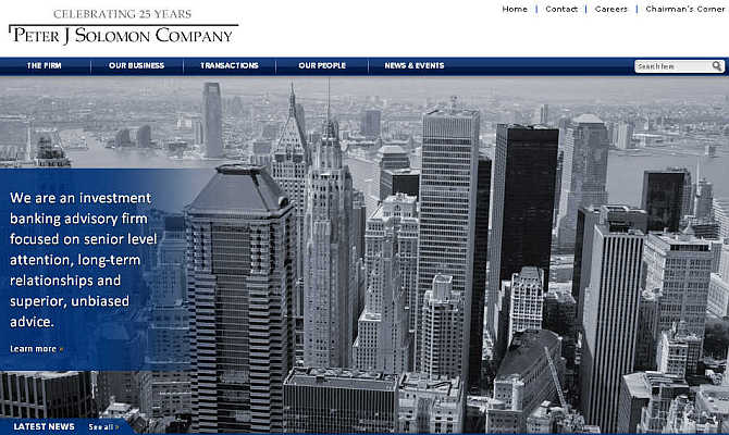 Homepage of Peter J Solomon Company.