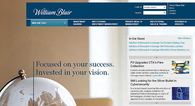 Homepage of William Blair & Company.