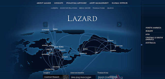 Homepage of Lazard.