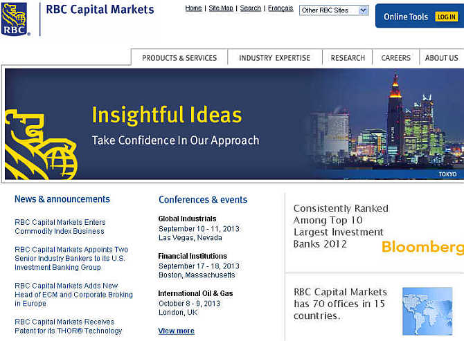 Homepage of RBC Capital Markets.