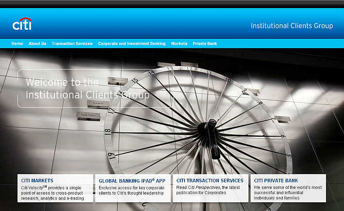 Homepage of Citi Institutional Clients Group.