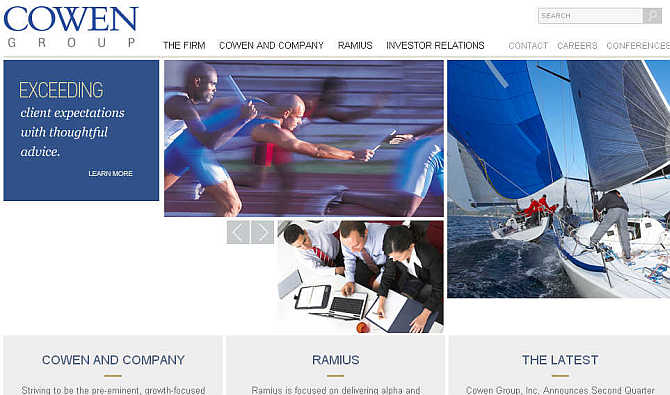 Homepage of Cowen Group.
