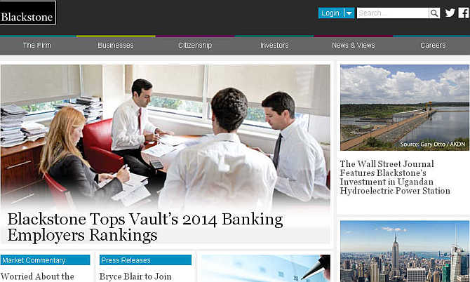 Homepage of Blackstone Group.