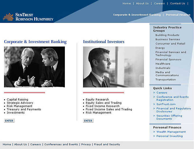 Homepage of SunTrust Robinson Humphrey.