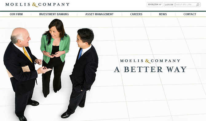 Homepage of Moelis & Company.