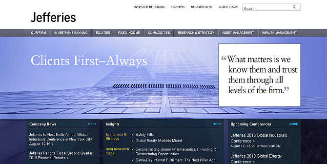 Homepage of Jefferies & Company.