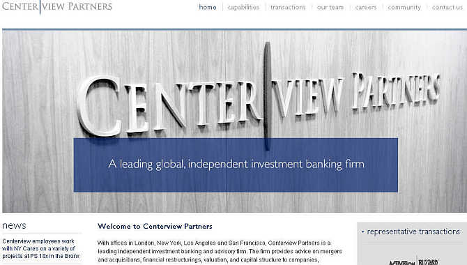 Homepage of Centerview Partners.