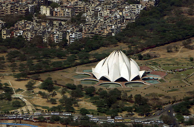 An aerial view of Lotus Temple in New Delhi.