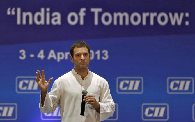 Rahul Gandhi, a lawmaker and son of India's ruling Congress party chief Sonia Gandhi, speaks during the 2013 annual general meeting and national conference of Confederation of Indian Industry (CII) in New Delhi.