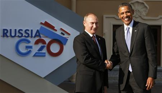 Russian President Vladimir Putin (L) and US President Barack Obama at the G 20 Summit.