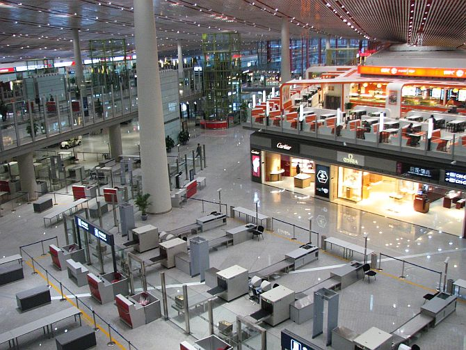 Lobby of Terminal 3 of Beijing Capital International Airport.