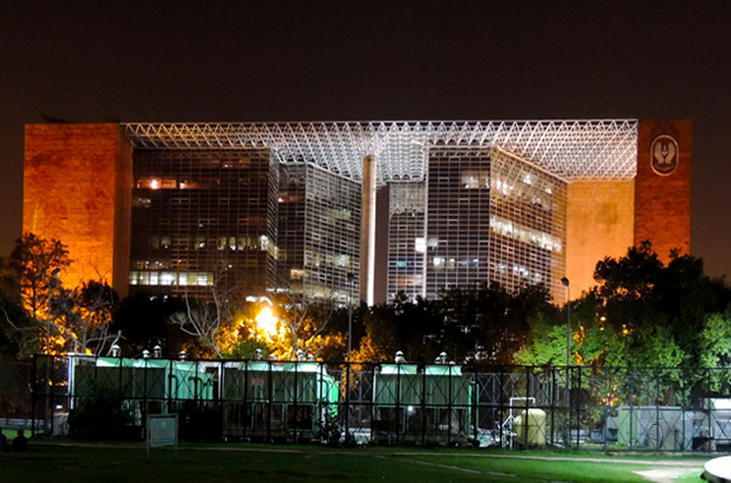 LIC Zonal Office Night View from ConnaughtPlacePark