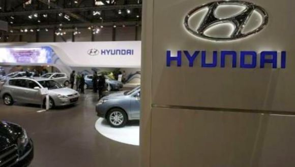 Hyundai cars are displayed at the Geneva Car Show.
