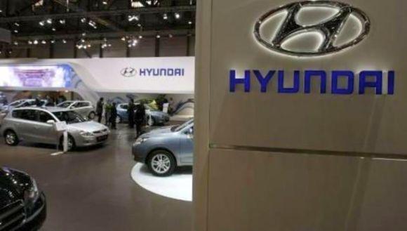 Hyundai cars are displayed at the Geneva Car Show.