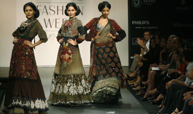 Models present creations.