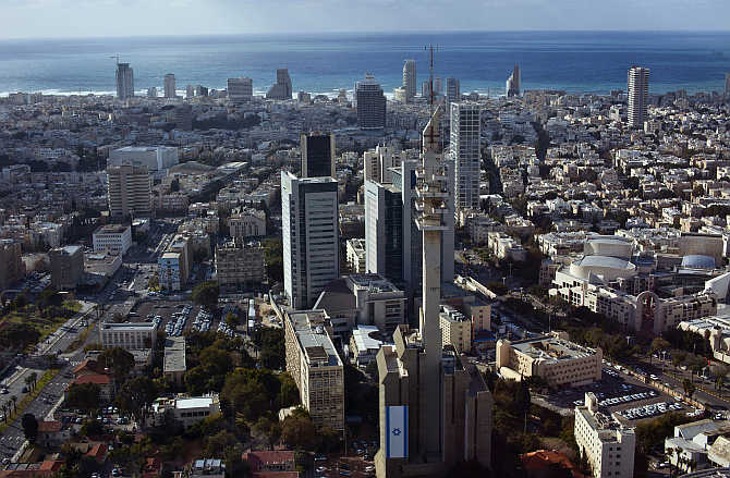 A view of central Tel Aviv, with the Mediterranean Sea in the background, Israel.