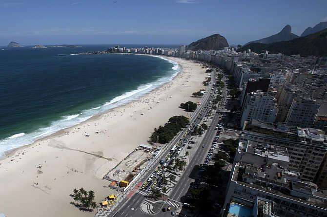 A view of Copacabana beach in Rio de Janeiro, Brazil.