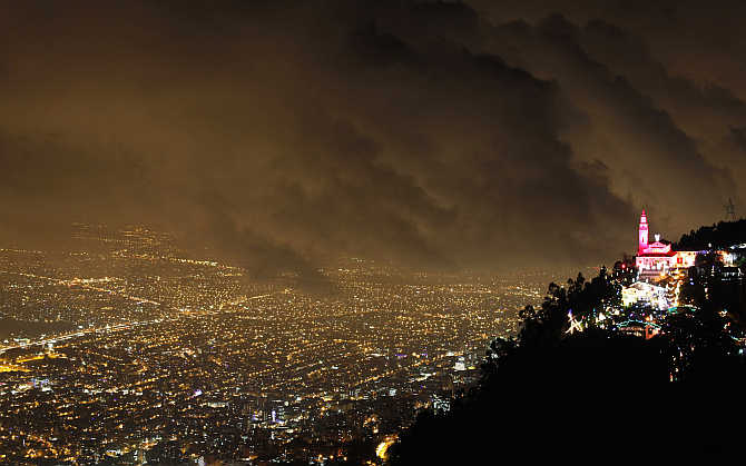 A view of illuminated Christmas decorations at Monserrate church in Bogota, Colombia.