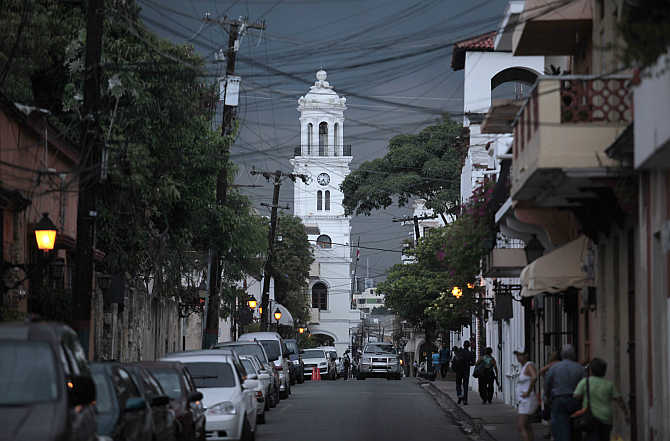 A view of a street in the Colonial Zone of Santo Domingo, Dominican Republic.