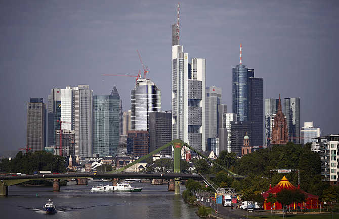 A view of Frankfurt's skyline, Germany.