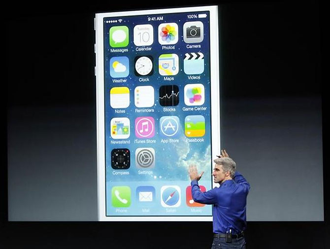 Craig Federighi, Senior VP of Software Engineering at Apple Inc speaks during Apple Inc's media event in Cupertino.