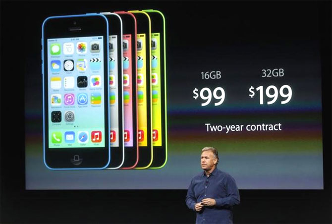 Phil Schiller, senior vice president of worldwide marketing for Apple Inc, talks about the pricing of the new iPhone 5C.