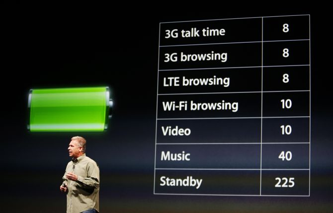 Phil Schiller, senior vice president of worldwide marketing at Apple Inc., talks about battery life of the iPhone 5 during Apple Inc.'s iPhone media event in San Francisco, California.