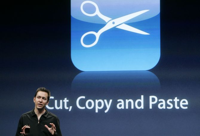 Scott Forstall, senior vice president for iPhone Software, discusses the new cut, copy and paste application of the iPhone OS 3.0 software at Apple Inc. campus in Cupertino.