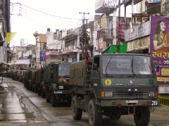 The army conducts a flag march in violence-hit Muzaffarnagar.