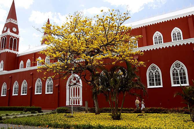 Red Metal Church in Grecia, Costa Rica.
