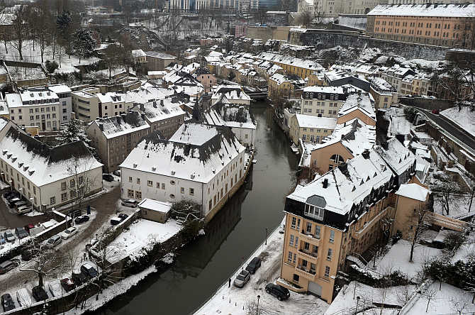 Petrusse River near old fortifications of the city of Luxembourg, Luxembourg.