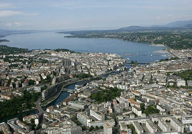 A view of Geneva and Lake Leman, Switzerland.