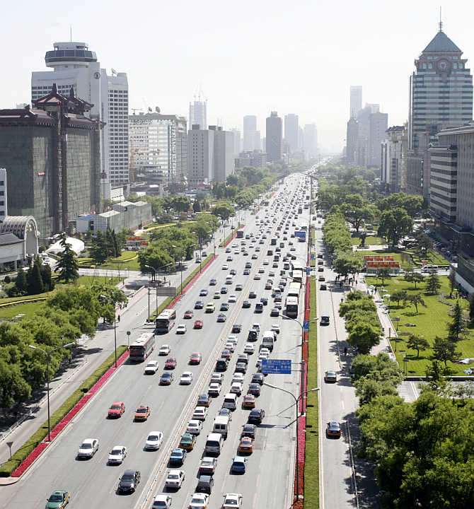 An overview shows the east section of Changan street in Beijing, China.