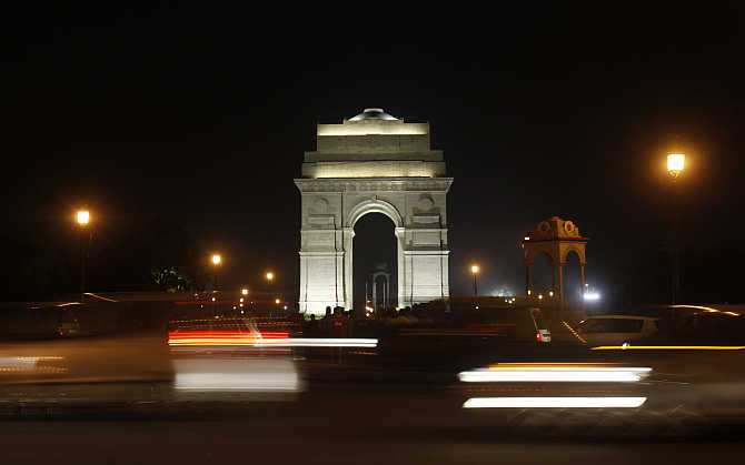 A view of India Gate in New Delhi, India.