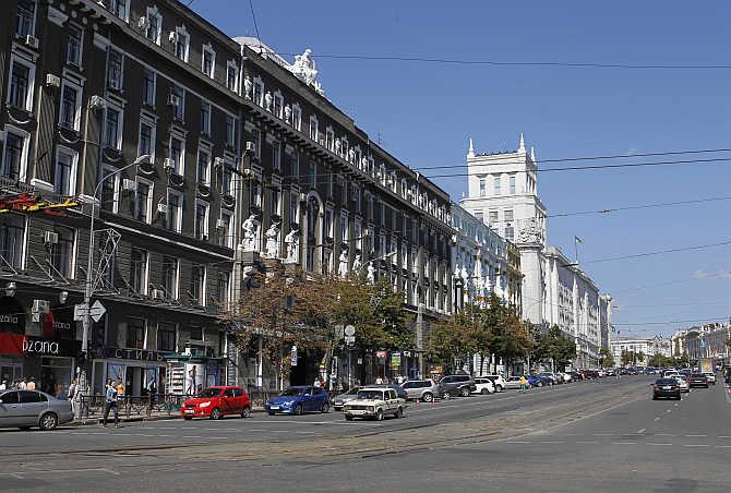 A view of central Kharkiv, Ukraine.