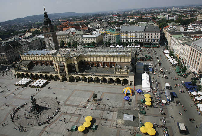A view of Sukiennice Cloth Hall in the Main Market Square in Krakow, southern Poland.