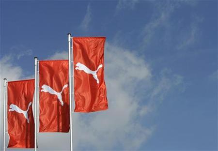Flags wave over the Puma factory outlet store in Herzogenaurach near Nuremberg.