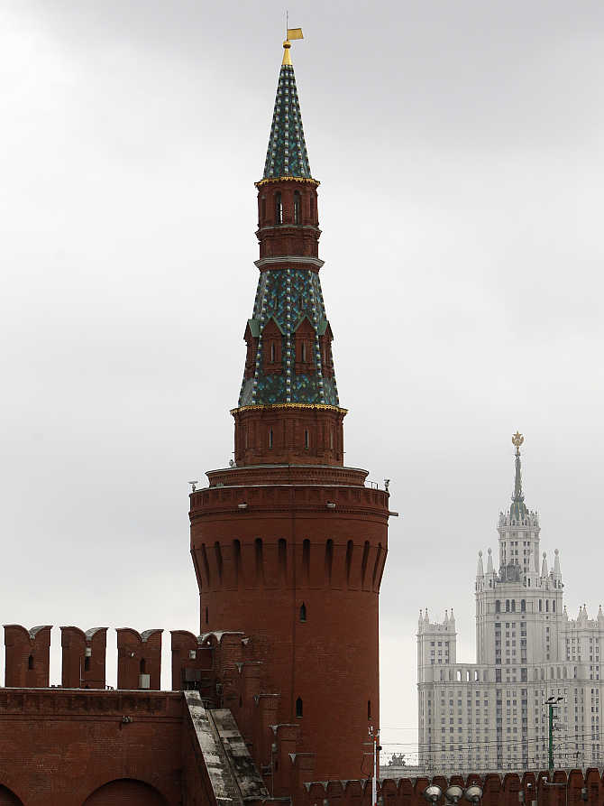 Kremlin Beklemishevskaya Tower, also known as Moskvoretskaya, in central Moscow, Russia.