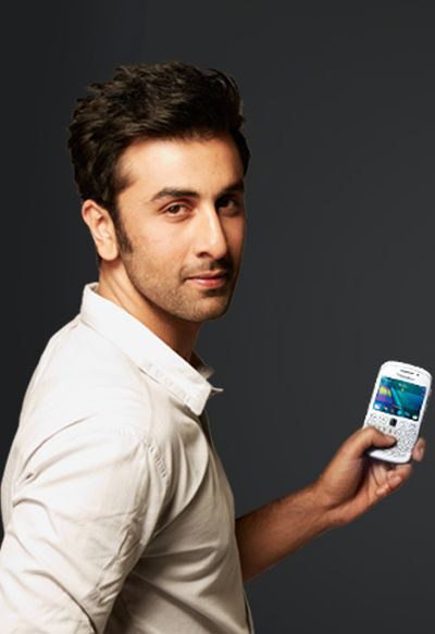 Ranbir Kapoor with a BlackBerry phone.