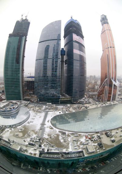 A general view shows the Moscow International Business Center and the Mercury City Tower (R) after a ceremony to present it as Europe's tallest skyscraper in Moscow.