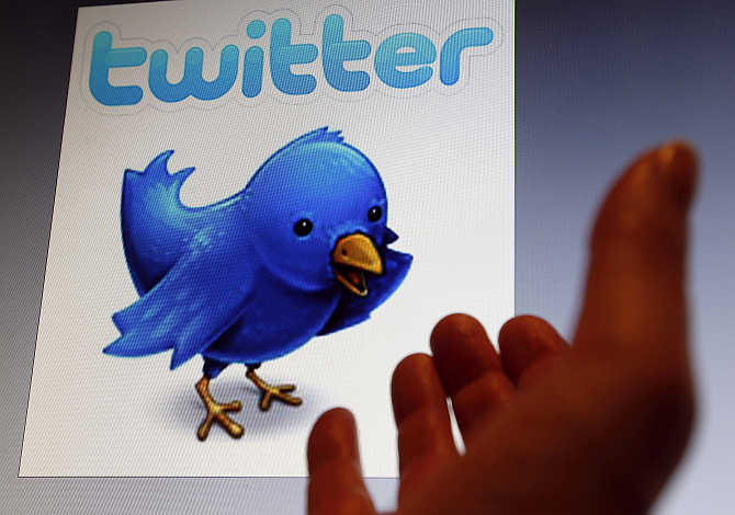 An illustration picture shows a Twitter blue bird symbol on an iPad, in Bordeaux, Southwestern France.